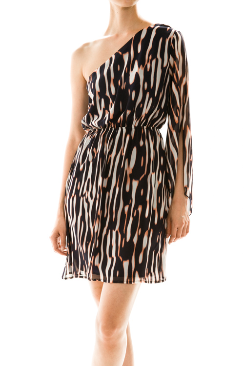 Alluring Exotic Print One Shoulder Dress