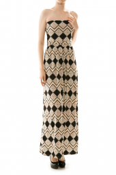Chevron Diamond Print Strapless Maxi Dress