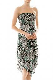 Smocked Strapless Pointed Hem Tribal Dress