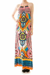 Abstract Multi Print Halter Maxi Dress