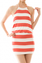 Bubble Top Halter Stripe Print Mini Dress