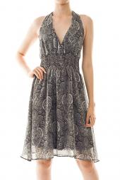 Abstract Print Halter Smock Knee Length Dress