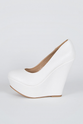 Round Toe Casual Platform High Heel Wedge Pump