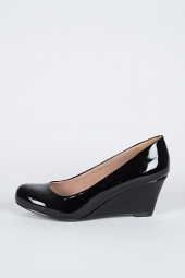 Leather Round Closed Toe Med Low Wedge Heel Pump
