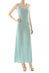 Stripe Print Banded Racerback Tank Maxi Dress