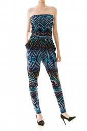 Chevron Print Tie Waist Pocket Jumpsuit