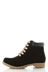 Lace Up Metal Gold Chain Military Combat Booties