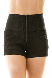 Stretch High Waist Zip Front Cuffed Shorts