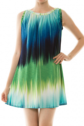 Dip Dye Colorblock Print Shift Mini Dress