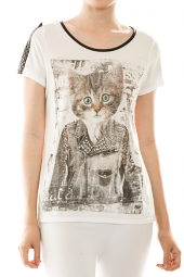 Punk Biker Kitty Faux Leather Embellished Top