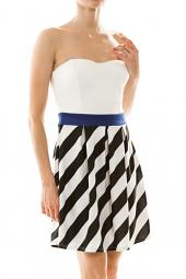 Strapless Sweetheart Stripe Skater Mini Dress
