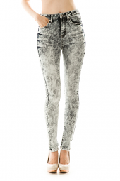 High Waisted Bleached Denim Skinny Jeans