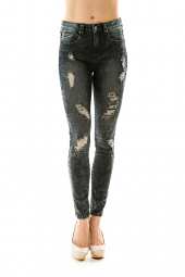 Destroyed High Waist Skinny Denim Jeans
