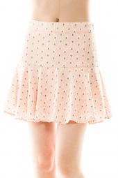 Flared Heart Print Zip Back Mini Skirt