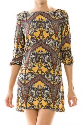 Damask Print V-Back 3/4 Sleeve Mini Dress