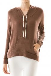 Front Pocket Solid Long Sleeve Hoodie