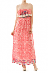 Strapless Flounce Damask Print Maxi Dress