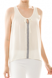 Bow & Keyhole Detail Embroidered Tank Top