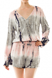 Wrapped V-Neck Long Sleeve Tie Dye Romper