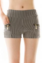 Pinstripe Zipper Pocket Detail Shorts