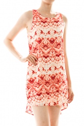 Tie Dye Tribal Sleeveless High Low V-Back Dress