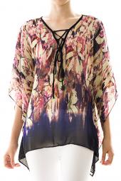 Delicate Abstract Chiffon Kimono Top