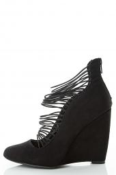 Stretch Elastic Strappy Cage Medium High Wedge Heel Pump Shoes