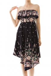 Strapless Floral Flounce Asymmetrical Dress