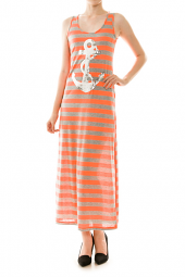 Sleeveless Stripe Print Sequin Anchor Maxi Dress