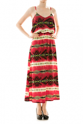 Spaghetti Strap Tribal Bubble Top Maxi Dress