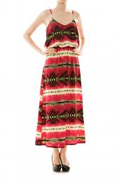 Spaghetti Strap Tribal Bubble Top Maxi Dress