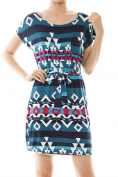Tribal Print Short Sleeve Tie Waist Mini Dress