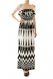 Flounce Strapless Abstract Chevron Maxi Dress