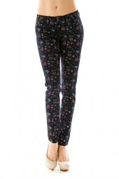 Floral Denim Colored Skinny Fit Jeans