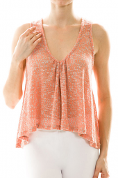 Cropped Sharkbite Tie Back Flutter Tank Top