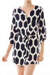 Button Down Tie Waist Printed Shirt Dress