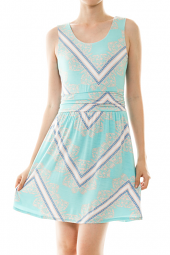Zig Zag Damask Print Sleeveless Mini Dress