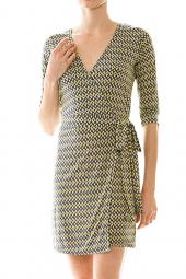 3/4 Sleeve Diamond Print Mini Wrap Dress