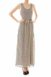 Rope Print Cut Out Maxi Dress