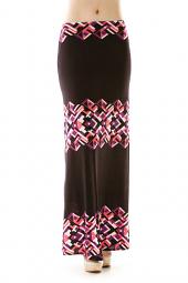 Diamond Abstract Print Maxi Skirt