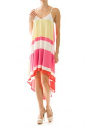 High Low Color Block Stripe Cut Out Shift Dress
