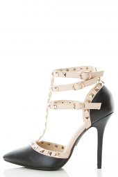 Strappy Gold Stud Mary Jane T-Strap Heel Pump Sandal
