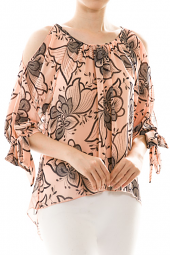 Floral High Low Cut Out Pleated Blouse Top