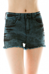Dark Wash Tie Dye Frayed Denim Shorts