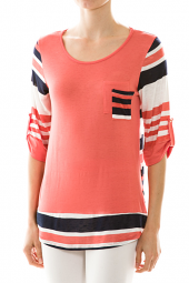 Stripe Print Double Pocket High Low Top