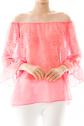 3/4 Sleeve Laser Cut Floral Off Shoulder Blouse