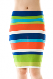 Stripe Print Knee Length Bodycon Skirt