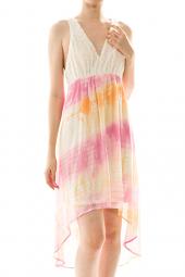 Lace Tie Dye Swirl Print High Low Dress