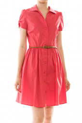 Darling Short Sleeve Belted Button Up Dress