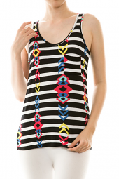 Stripe Print Geometric Tribal Detail Tank Top